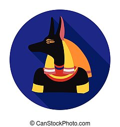 Anubis icon in flat style isolated on white background. Ancient Egypt symbol stock vector illustration.