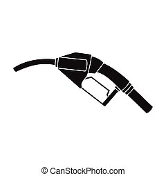 Fuel nozzle icon in black style isolated on white background. Oil industry symbol stock vector illustration.
