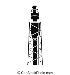 Oil rig icon in black style isolated on white background. Oil industry symbol stock vector illustration.