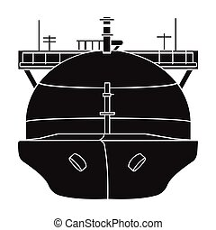 Oil tanker icon in black style isolated on white background....