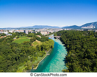 Aerial view of Arve an Rhone river confluent in Geneva...