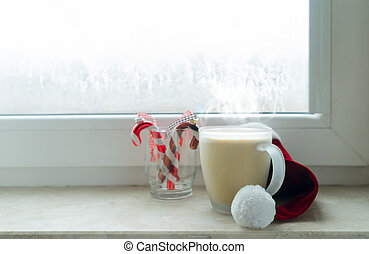 Cup of coffee on window sill - Cup of hot chocolate on...