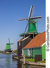 tradycyjny, wiatraki, Rzeka,  zaan, Holenderski