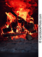 old oven with flame fire - the texture of fire and flame...