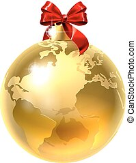 Christmas Bauble Bow Globe World Earth