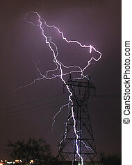 Arizona Lightning striking a powerline