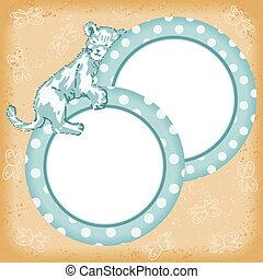 Baby boy card with little sleeping lion
