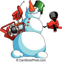 snowman karaoke.eps - funny snowman with a tape recorder and...