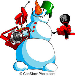 snowman karaoke - funny snowman with a tape recorder and a...