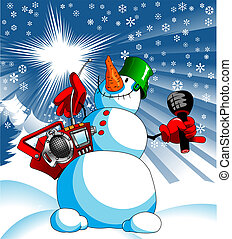 snowman star karaoke - funny snowman with a tape recorder...