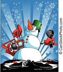 snowman on the disco - funny snowman with a tape recorder...
