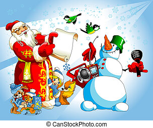 Santa and snowman - Illustration for Christmas and New Year....