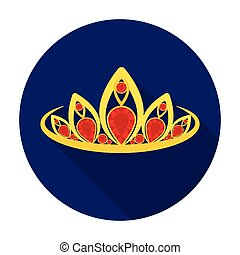 Diadem icon in flat style isolated on white background....