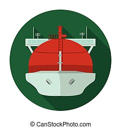 Oil tanker icon in flat style isolated on white background....