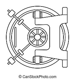 Bank vault icon in outline style isolated on white...