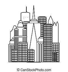 Megalopolis icon in outline style isolated on white...