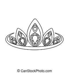 Diadem icon in outline style isolated on white background....