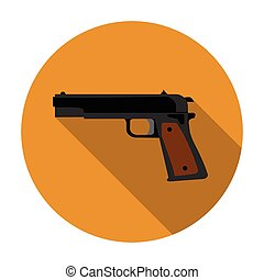 Military handgun icon in flat style isolated on white background. Military and army symbol stock vector illustration