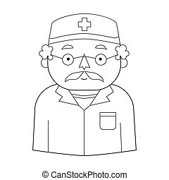 Doctor icon in outline style isolated on white background. People of different profession symbol stock vector illustration.
