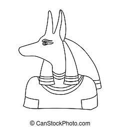 Anubis icon in outline style isolated on white background. Ancient Egypt symbol stock vector illustration.