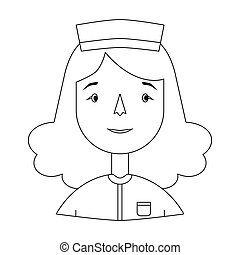 Nurse icon in outline style isolated on white background. People of different profession symbol stock vector illustration.