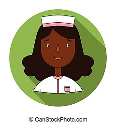 Nurse icon in flat style isolated on white background. People of different profession symbol stock vector illustration.