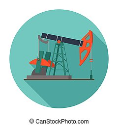 Oil pumpjack icon in flat style isolated on white...