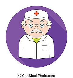 Doctor icon in flat style isolated on white background. People of different profession symbol stock vector illustration.