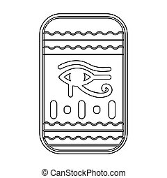 Eye of Horus icon in outline style isolated on white background. Ancient Egypt symbol stock vector illustration.