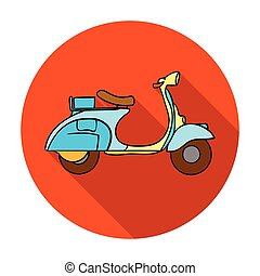Italian scooter from Italy icon in flat style isolated on...