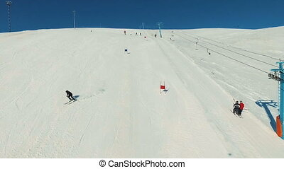 Skier starts riding on the giant track.