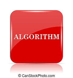 Algorithm icon. Algorithm website button on white...