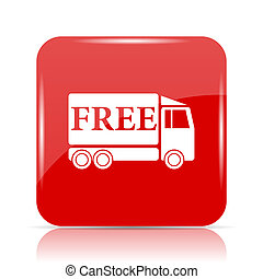 Free delivery truck icon. Free delivery truck website button...