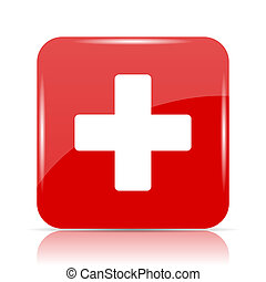 Medical cross icon. Medical cross website button on white...