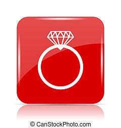 Diamond ring icon. Diamond ring website button on white...