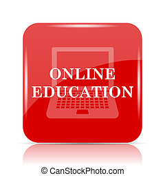Online education icon. Online education website button on...