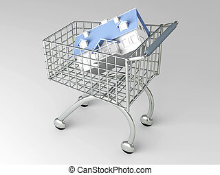 Real Estate Shopping - 3D rendered Illustration