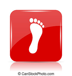 Foot print icon. Foot print website button on white...