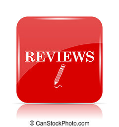 Reviews icon. Reviews website button on white background.