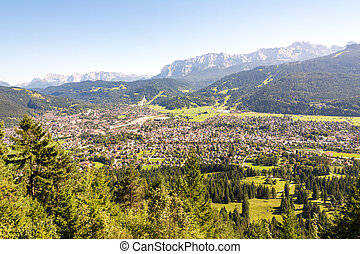 Aerial view over Garmisch in the alps of Bavaria - Aerial...