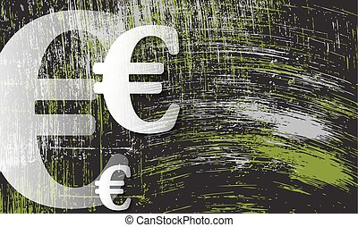 Scratched background and transparent euro symbol