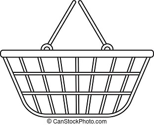 Shopping basket icon, modern line, sketch, doodle style....