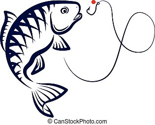 Fishing vector - Fish jumping over a hook, a symbol for...