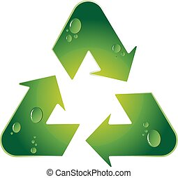 Recycling symbol, green arrow with water drops