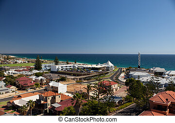The view from the top of Marlston Hill Lookout Bunbury Western Australia WA with lighthouse
