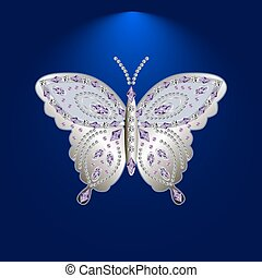 butterfly with stones 4 - silver butterfly jewelry with...