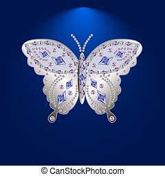 butterfly with stones 5 - silver butterfly jewelry with...