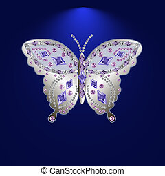 ???????? RGB - silver butterfly jewelry with precious stones
