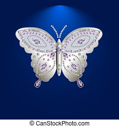 butterfly with stones 6 - silver butterfly jewelry with...