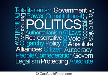 Politics Word Cloud on Blue Background